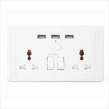 Double Socket Extension with 3A 3 USB Charging Port ~ UK Plug