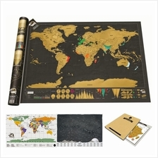 Scratch Travel World Map Series Large Deluxe + Notebook +Free Gift