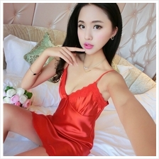 FREE SIZE SMOOTH ICE SILK SEXY LINGERIE / BABYDOLL (RED)