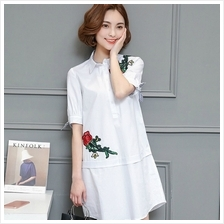 KOREA FASHION LONG SLEEVE DRESS WHITE (SIZE XL)