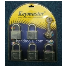 KEYMASTER K300 5PCS HARDENED STEEL PADLOCK CHROME PADLOCK SECURITY