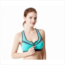 SB20 Fashion Back Design Zipper Sport Bra with Removable Pads