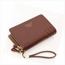 Men Synthetic Leather Clutch Bag Long Wallet - Black / Brown