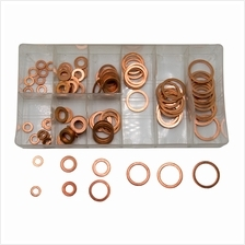 120PCS 9 Sizes Assorted Solid Copper Crush Washers Seal Flat Ring Set ..