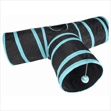 Pet Cat Dog Collapsible 3 Way Pet Crinkly Sounds Agility Train Tunnels
