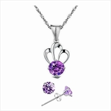 YOUNIQ Her Highness 925 Sterling Silver Necklace Set w/Cubic Zirconia