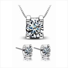 YOUNIQ Box 925 Sterling Silver Necklace Set with Cubic Zirconia