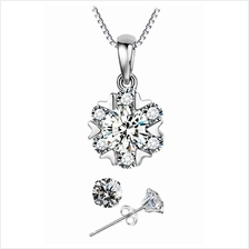 YOUNIQ Snow Dance 925 Sterling Silver Necklace Set with Cubic Zirconia