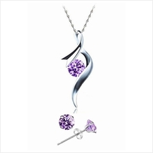 YOUNIQ Ribbon 925 Sterling Silver Necklace Set w/C.Zirconia- 2 colours