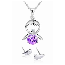 YOUNIQ Happy Kids 925 Sterling Silver Necklace w/C. Zirconia- 2 colour