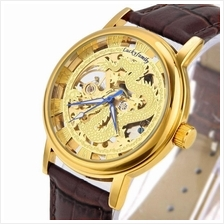 Dragon Design Roman Marker Unisex Manual Winding Leather Watch Gold Co