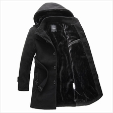 Winter Men's Windbreaker Hooded Woolen Jacket Slim Fit Coat Plus Size