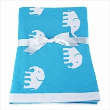 FASHION PRINTED BABY COTTON WATER UPTAKE BLANKET / BATH TOWEL (BLUE EL