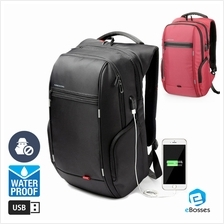 KINGSONS Men Women Computer Bag Anti-theft Travel Backpack with USB Ch