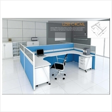 Cluster of 4 pax workstation ( office table, partition, pedestal) 2