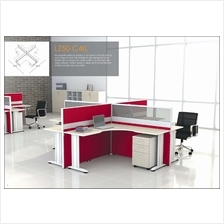 Cluster of 4 pax workstation ( office table, partition, pedestal) 1