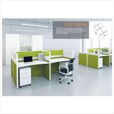 Cluster of 4 pax workstation ( office table, partition, pedestal)