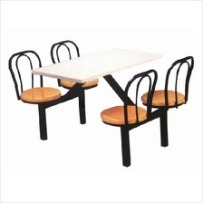 Food Court Table 4 Seater c/w Backrest