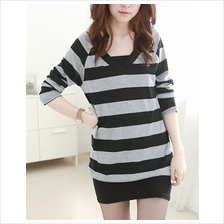 CASUAL PLUNGING NECK LONG SLEEVES STRIPED DRESS FOR WOMEN