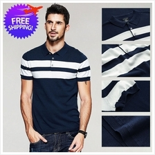 Men Short Sleeve Slim Fit Stripe Casual Polo T-Shirt