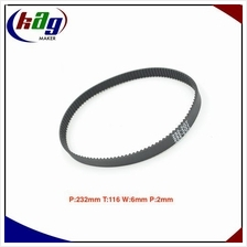 GT2 Timing Belt Closed Loop Peri:232mm  Teeth:116 Width:6mm Pitch:2mm