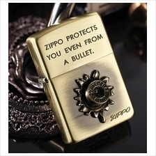 "Bronze 3D Bullet ""Zippo Protects You Even From A Bullet"" Zippo Lighter"
