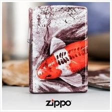 5 Sided Graffiti Lucky Koi Fish Matte Zippo Lighter