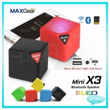 MAXGear LED Mini X3 Stereo Bluetooth Wireless Speaker USB AUX SD Call