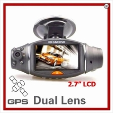 "★ Night Vision 2.7"" LCD Dual Lens Car Black Box with GPS (WCR-11"