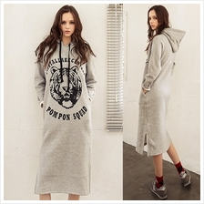 DOLLYPOODY TIGER Print Hoodie Inner Suede Long Sweater Dress