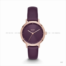 DKNY NY2640 Women's The Modernist 3-hand Leather Strap Plum