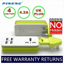 PINENG PN-333 UK Extension Socket with 4 USB Ports & Universal Socket