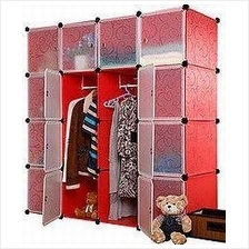 RED PLAIN DIY WARDROBE - 16 CUBE