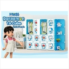 16 CUBE WARDROBE DORAEMON WITH CORNER RACK ( BLUE / PINK )