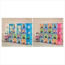16 CUBE WARDROBE MINION WITH CORNER RACK ( PINK/BLUE )