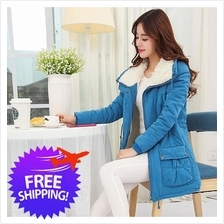 Women Lady Turn Down Polo Collar Wool Autumn Winter Jacket Coat