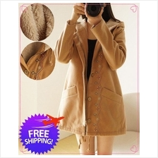 Japan Design Women Lady Hooded Wool Knitting Autumn Winter Jacket Coat