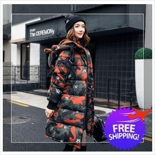 Korean Fashion Women Lady Hooded Camouflage Winter Jacket Coat