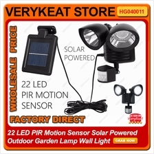 22 LED PIR Motion Sensor Solar Powered Outdoor Garden Lamp Wall Light