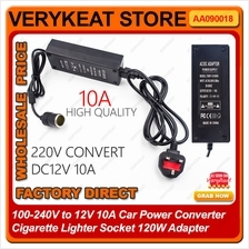 100-240V to 12V 10A Car Power Converter Cigarette Lighter Socket 120W