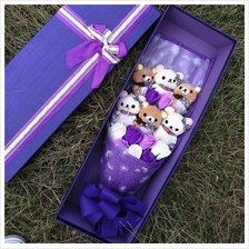6pcs rilakkuma 9pcs Soap Flowers with gift box add led light / Bouquet..