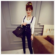 DENIM SKINNY SLIM OVERALL SUSPENDER JEANS JUMPSUIT (BLUE)