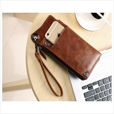 Men Genuine Cowhide Leather Retro Long Wallet Clutch Bag (Brown)