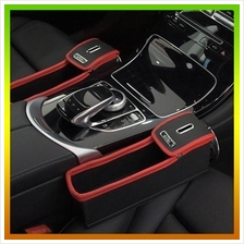 1 Pair Black/Red Color Leather Car Seat Slit Gap Organizer Console Cat