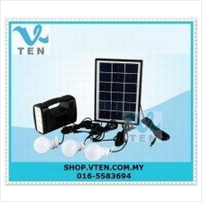 Portable 5W Solar Lighting System Camping Light With 3 Lamp Flashlight