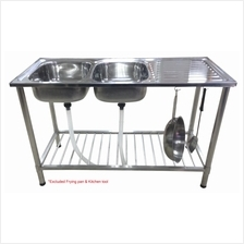 Cam Brand Diy Stainless Steel Double Bowl Kitchen Sink With Stand