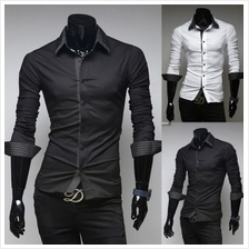 Men Double Collar Striped Long-Sleeved Shirt (2 Color) MT005588