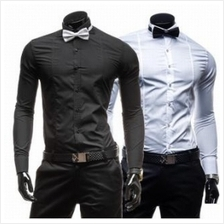 Men Slim Fit Long-Sleeved Shirt with Bow Tie (2 Color) MT005589