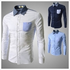 Men Long-Sleeved Stitching Shirt (3 Color) MT005561