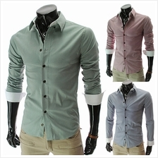 Men Fashion Striped Long-sleeved Shirt (2 Color) MT590106